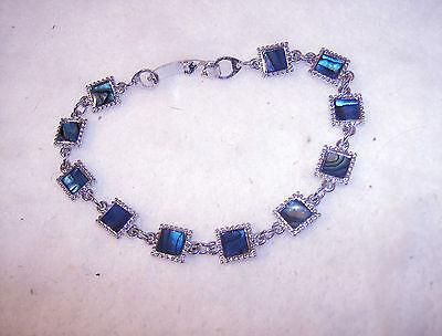 bling silver plated BEACH FASHION square abalone paua shell chain bracelet DIY
