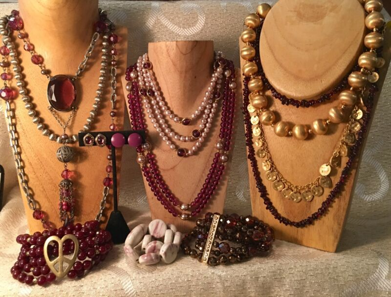 AMETHYST PURPLE color Mixed Fashion Jewelry LOT•Necklaces•Bracelet•Earring•  a37