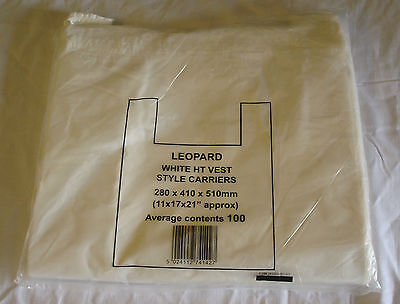 2000 x White Vest Carrier Bags 250x360x445mm Take Away Carry Bags Shop Holders