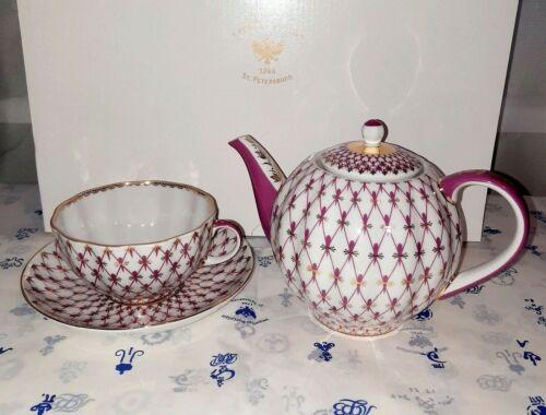 Lomonosov Teapot with Cup and Saucer. Tea set Egoist Net Blues 22k Gold, NEW