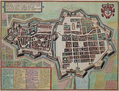 Nancy - Urbis Nancei Lotharingiae - Braun und Hogenberg 1617 - Original