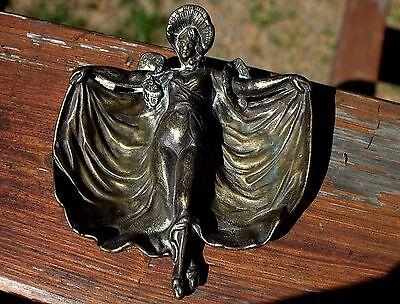 Fabulous Old Antique Art Nouveau Woman Bronze Tray