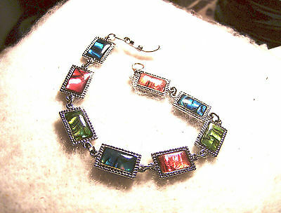 bling silver plated rectangle abalone paua BEACH shell FASHION bracelet JEWELRY