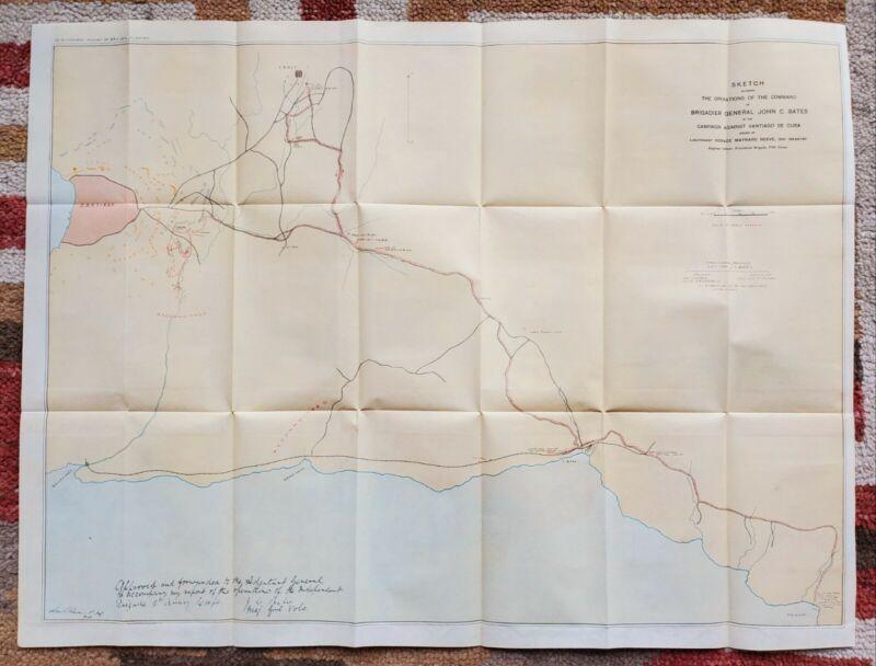1899 Cuba Map Spanish American War Brigadier general John Bates 3rd Infantry
