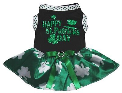 Happy St.Patrick's Day Black Cotton Top Green Clover Tutu Pet Dog Puppy Dress - St Patrick's Day Dress