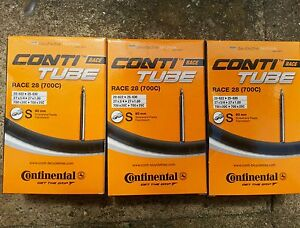 3 x Continental Race 28 Inner Tubes 700 x 23c Long Valve 80mm