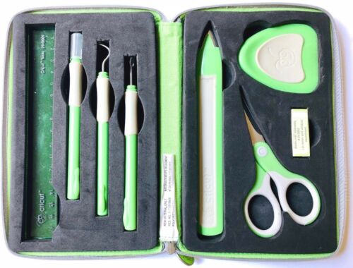 Cricut Provo 7 Piece Craft Tool Kit With Green Zippered Carry Case