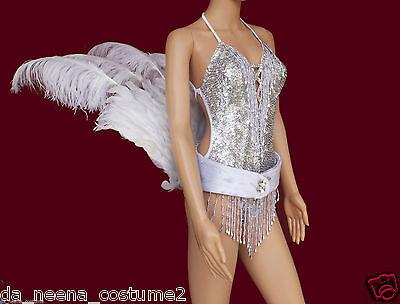 Da NeeNa C0277 Showgirl Bird Tail Ostrich Belt Sequin Costume Set XS-XL