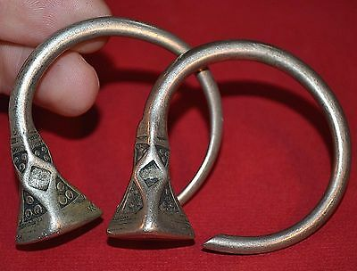 Antique Tuareg Tribal Silver Tsabit Tizabaten Traditional Earrings, Mali Africa