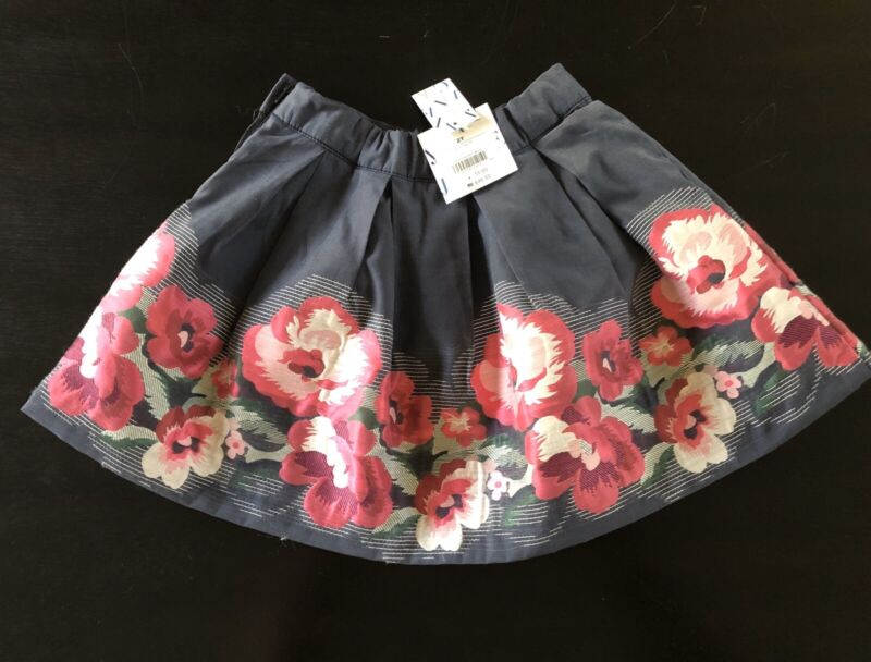 Janie And Jack Toddler Girl Size 2T skirt gray blue w/ multiple pink colors  NWT