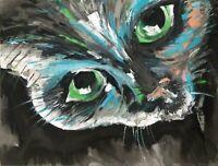 Original Bild Leinwand Acryl Gemälde Katze Black Cat abstrakt Nordrhein-Westfalen - Porta Westfalica Vorschau