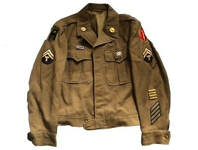 ORIGINAL WWII WW2 63rd ID INFANTRY DIVISION IKE JACKET UNIFORM 1ST ARMY