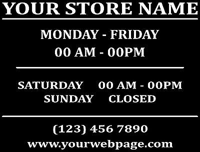Custom Business Store Hours Sign Vinyl Decal Sticker 12 Wide Door Glass