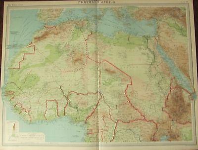 1922 LARGE ANTIQUE MAP ~ NORTHERN AFRICA ~ LIBERIA IVORY COAT MOROCCO ALGERIA