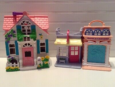 Fisher Price Sweet Streets Country Cottage Dollhouse & Dance Studio Lot Set Of 2