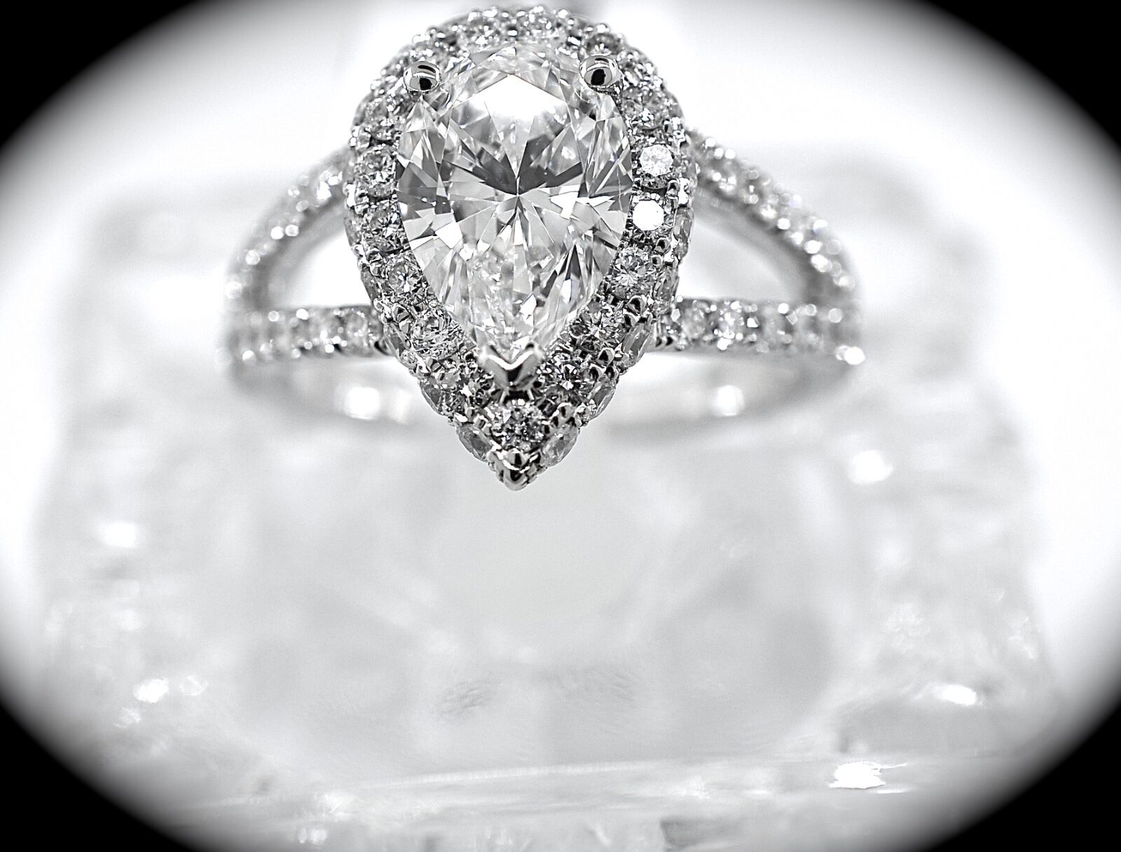 Halo Style Pear Shaped Engagement Ring GIA Certified size 6