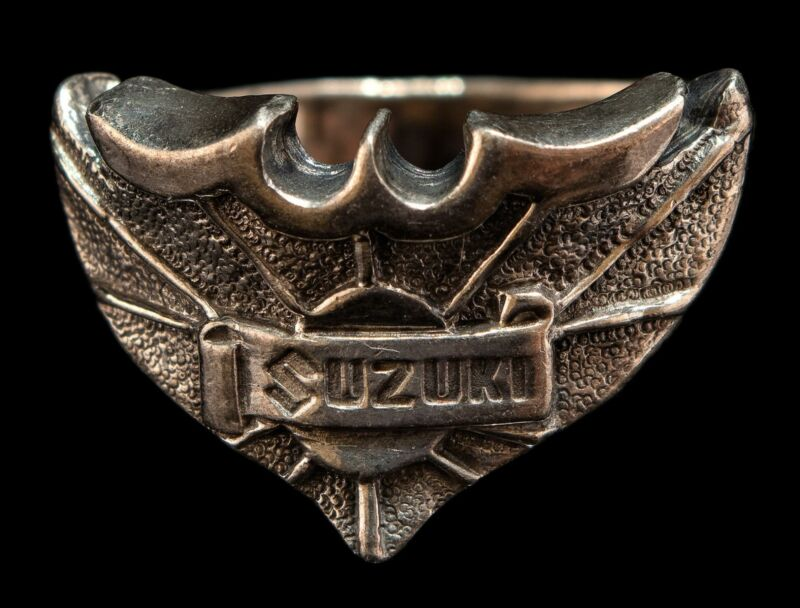 Vintage Sterling Silver Motorcycle SUZUKI Ring A.S.Co