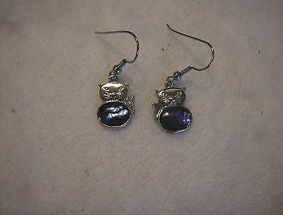 bling silver plated abalone paua kitty cat animal pet dangle ear ring JEWELRY EP