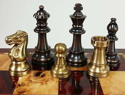 BRASS METAL Antique Bronze And Brushed Gold Staunton Lardy Chess Men Set NO BOAR Bronze Metal Chess