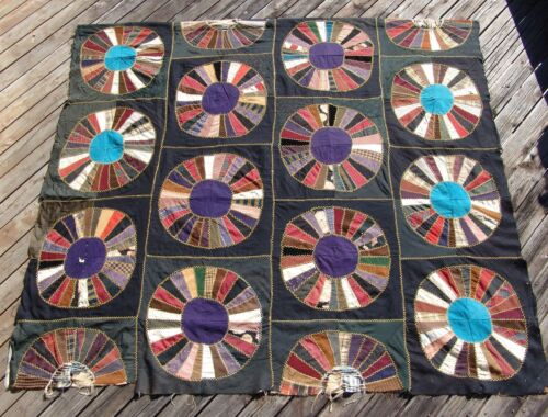 Vintage Victorian Silk Wool Crazy Quilt Dresden Plate 62 x 72 Embroidered