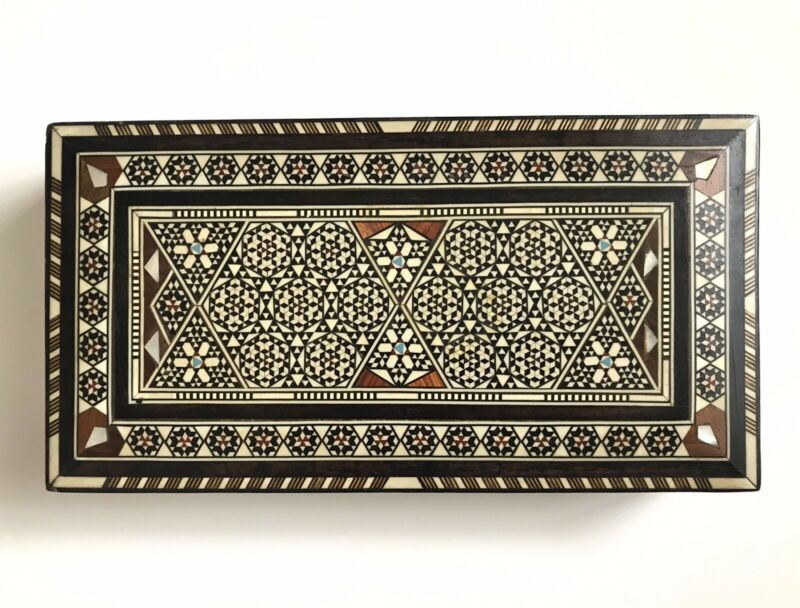Vintage Middle Eastern Marquetry Box Handmade Inlay Wood