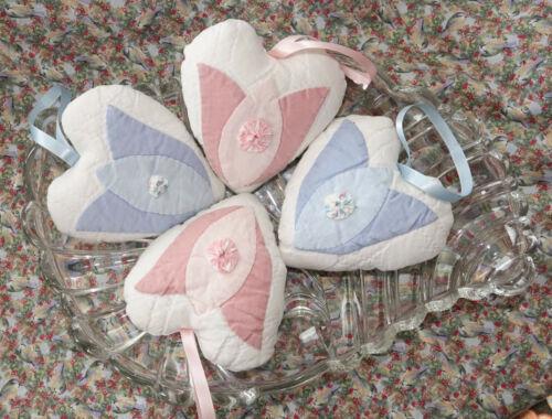 Vintage Quilt Heart Sachet Hanging Ornaments Tulips lavender 4 Valentines b