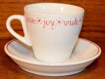 Starbucks 2005 Wish*Love*Joy Demitasse Espresso Cup and Saucer...EUC