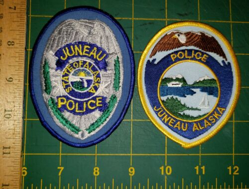 JUNEAU POLICE PATCH ALASKA ESKIMO NATIVE SET OF TWO AK FIRST ISSUE OLD AND REAL