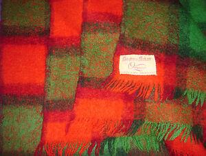 Vintage Onkaparinga Green Red Mohair Fringed Throw Rug Wool Blanket - 120x164 cm
