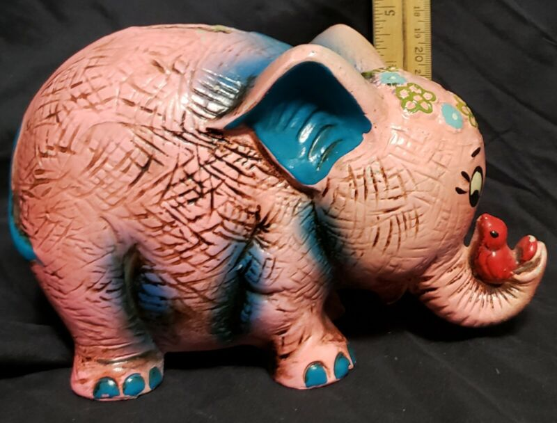 vintage 70s elephant, coin bank