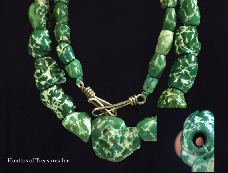 Unique Engraved Ancient Pre Columbian Turquoise Greenstone Beads Moche Indian