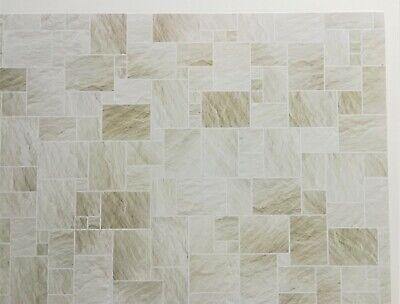 Dollhouse Miniature Faux Stone Floor Tile Flooring Gray Glossy Card Stock 1:12