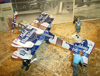 Pabst Blue Ribbon Beer Airplane Made from REAL Beer cans! Neon Tin Sign TEXAS
