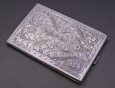 Antique Signed VR .800 Silver Hinged Engraved Cigarette Case ~ Inscribed on Back