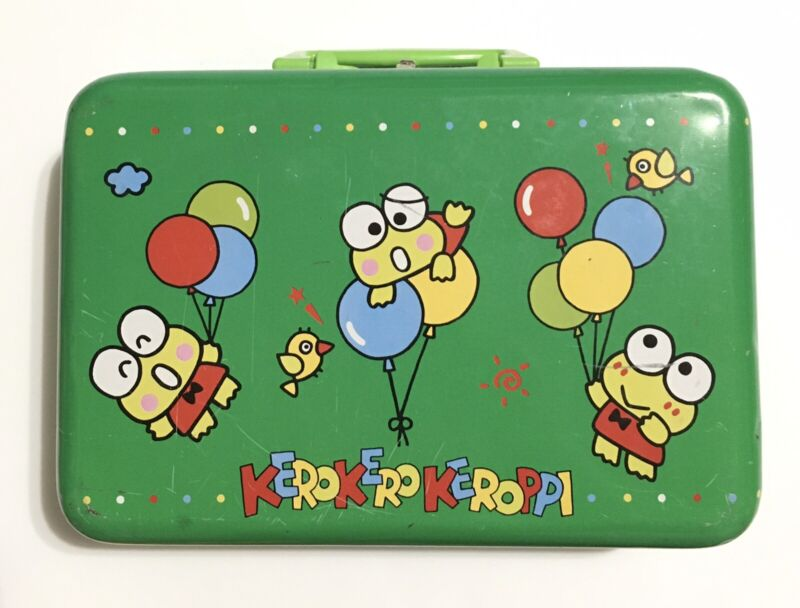 Vtg Keroppi Metal Tin Box Case 90's Rare Green Sanrio