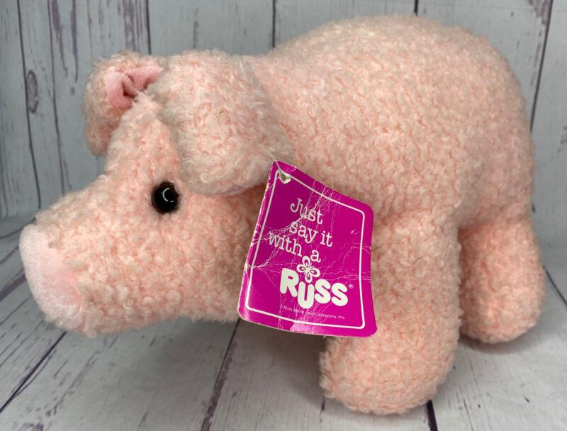 "Russ Pugsly Luv Pet Plush Pig 13"" Pink Vintage Farm House Valentines Day Piggy"