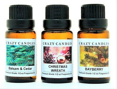 3 Oil Set Balsam & Cedar, Christmas Wreath, Bayberry Premium