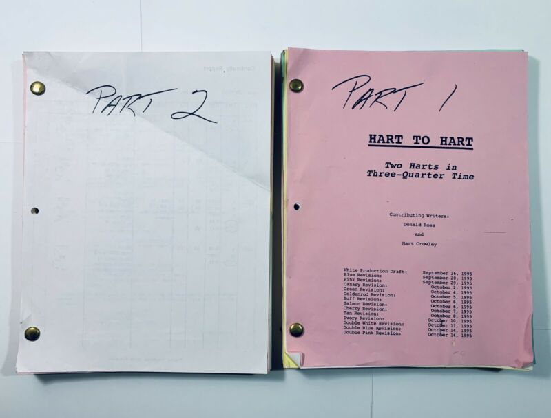 HART TO HART (1996) Robert Wagner ORIGINAL PRODUCTION CONTINUITY SCRIPT