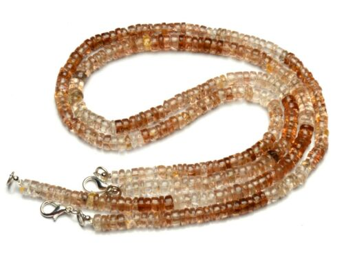 """Natural Gem Imperial Topaz Necklace 6MM Size Smooth Heishi Rondelle Beads 16"""""""