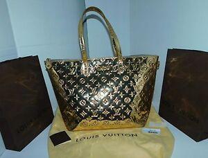 Louis Vuitton Bellevue Gm Monogram Miroir Handbag Purse Gold M95760 Authentic