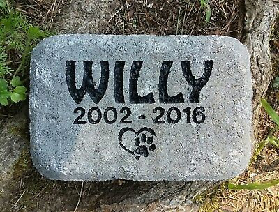 Pet memorial stone Cat or Dog personalized engraved paver stone, pet gravestone