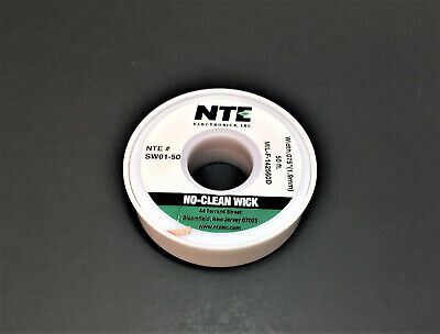 Nte Sw01-50 3 No-clean Solder Wick - Green - 50 - 1.9mm - Made In The Usa