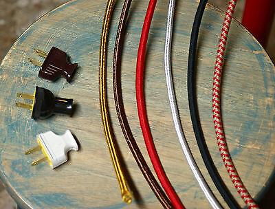 8' 3-Wire Round Cloth Covered Cord & Plug, 18ga. Vintage Light Lamp Cord, rayon
