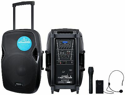 Kam RZ12A V3 Portable Battery Speaker PA System Bluetooth USB + Wireless Mic's