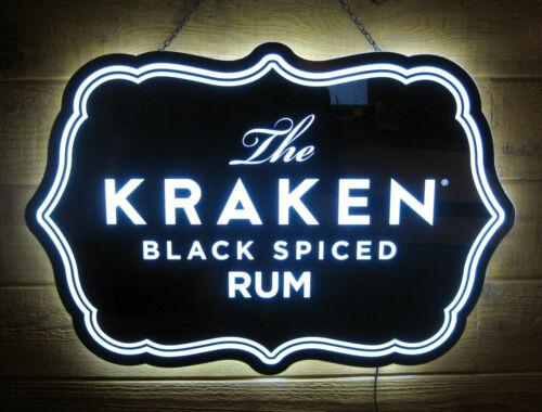 NIB THE KRAKEN Black Spiced Rum Acrylic Light LED Bar Wall Sign Advertisement