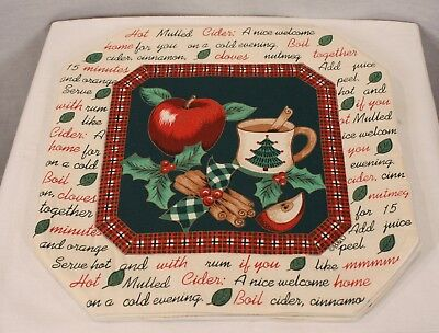 CHRISTMAS HOLIDAY THEMED HOT SPICED CIDER HEXAGON SHAPED SET OF 4 PLACEMATS NEW