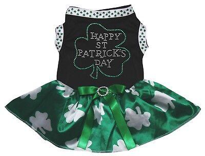 Happy St.Patrick's Day Clover Black Top Green Clover Tutu Pet Dog Puppy Dress](Dog St Patrick's Day Clothes)