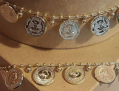 Gold Metallic 2cm Coin Trim - 1m or 10m Costume Belly Dancing Crafts