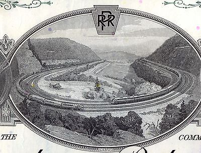 Pennsylvania Railroad Company 2 Color Stock Certificate Set Horseshoe Curve (Pennsylvania Railroad Company)