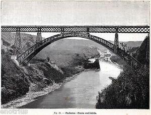 ... Adda-Ponte-di-ferro-sul-fiume-Adda-Lecco-Lombardia-Stampa-Antica-1896